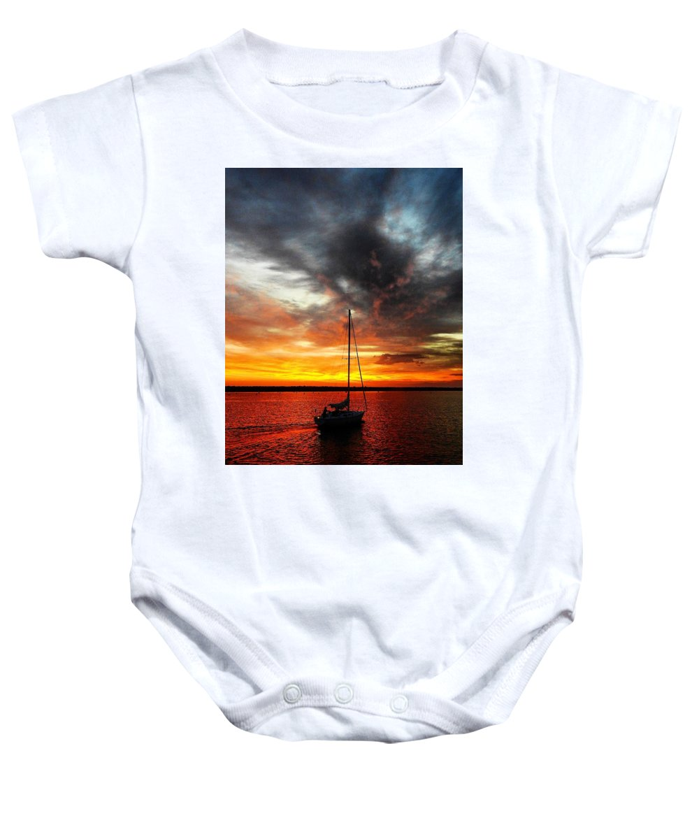 Sunset Baby Onesie featuring the photograph Sunset Sailboat by Greg Kear