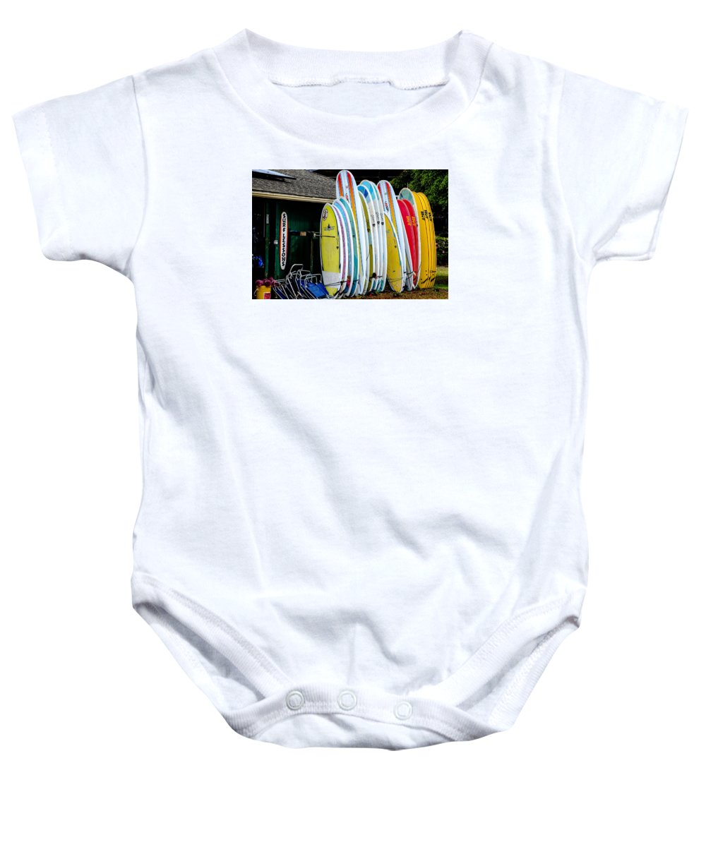 Hawaii Baby Onesie featuring the photograph Surf Lessons by Alan Hart