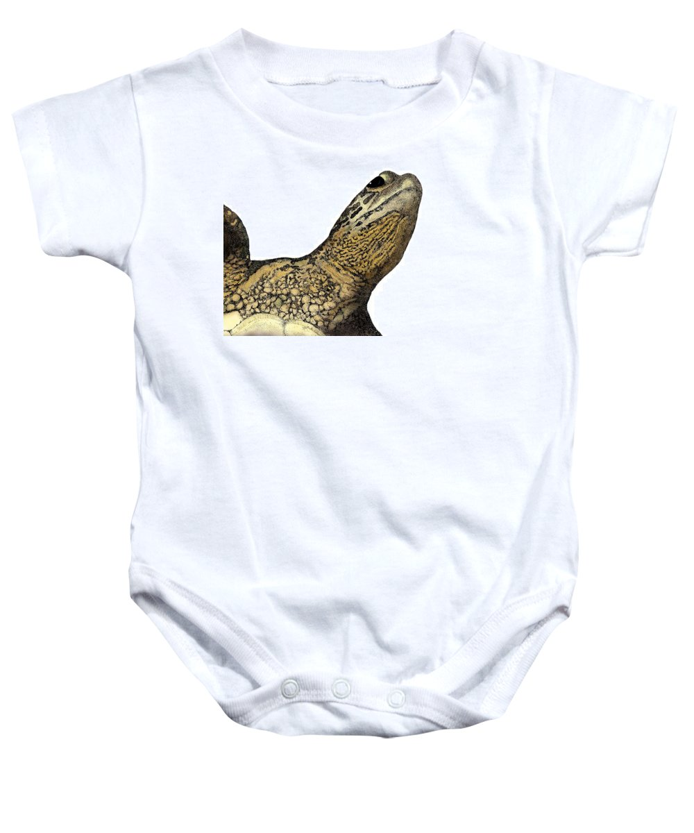 Sea Turtle Baby Onesie featuring the drawing Surface by David Weaver
