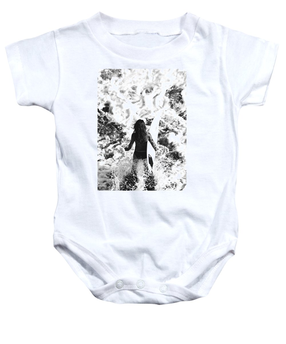 Surf Baby Onesie featuring the photograph Surfer Girl by Totto Ponce