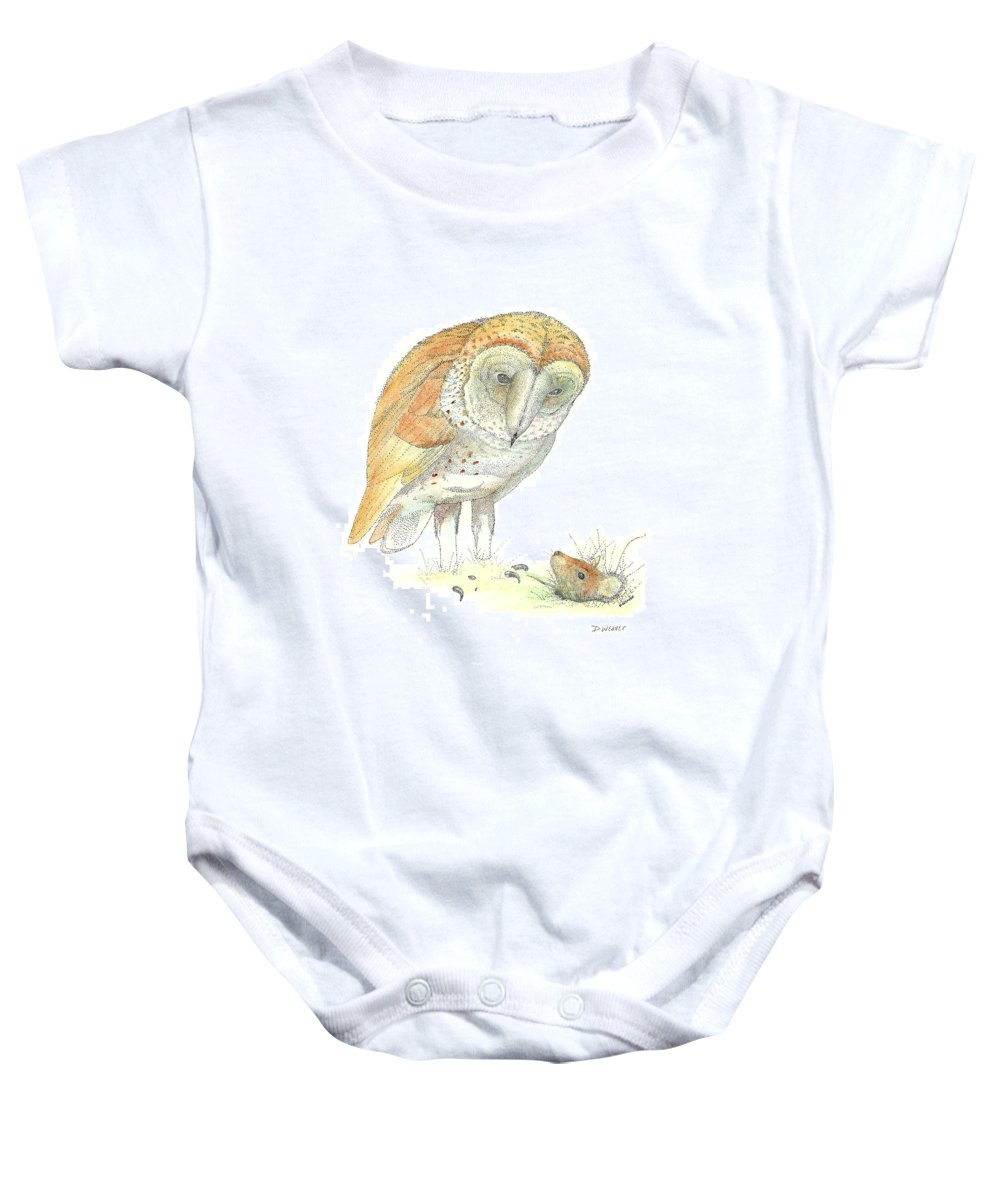 Owl Standing Over Field Mouse Baby Onesie featuring the drawing Surprise by David Weaver