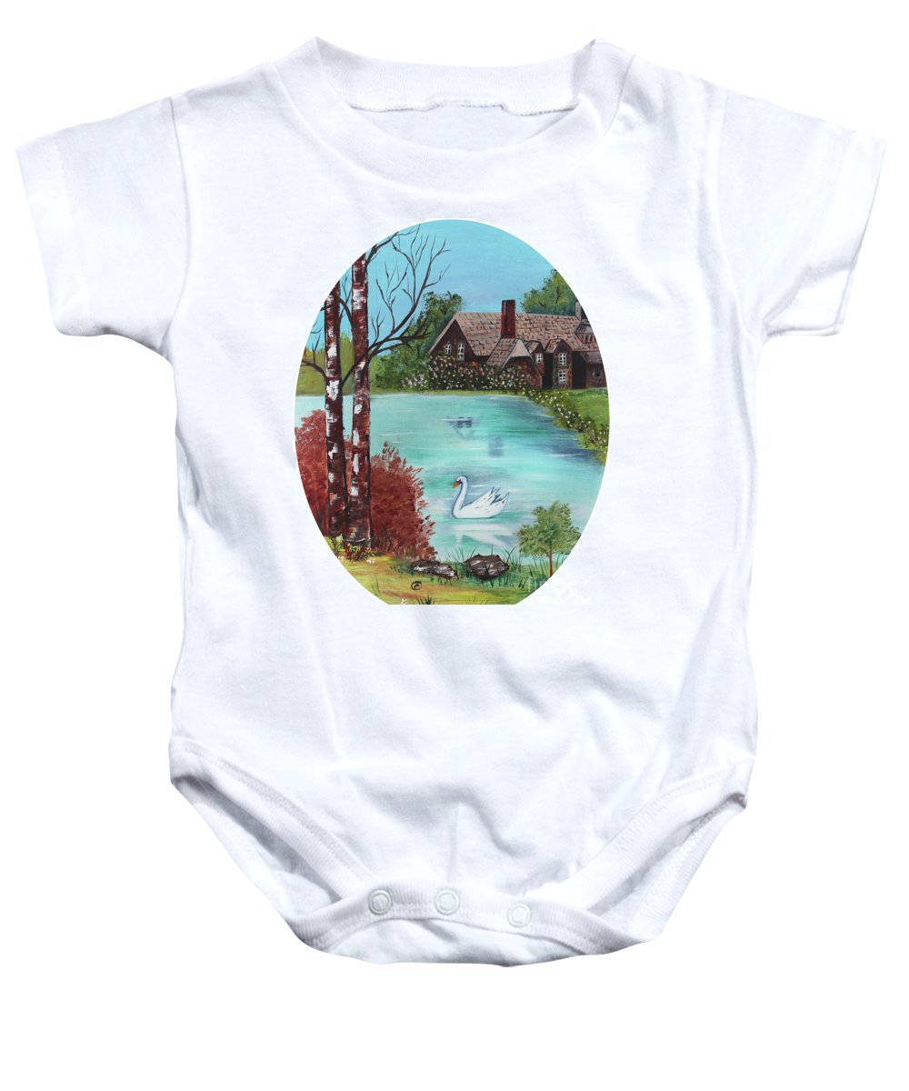 Old House Baby Onesie featuring the painting Swan Lake by Betty McGregor