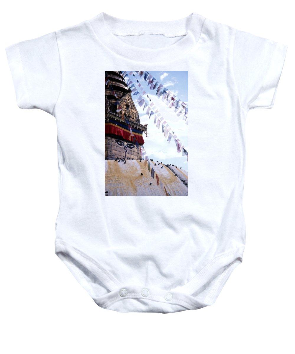 Swayambhunath Stupa Baby Onesie featuring the photograph Swayambhunath II by Patrick Klauss