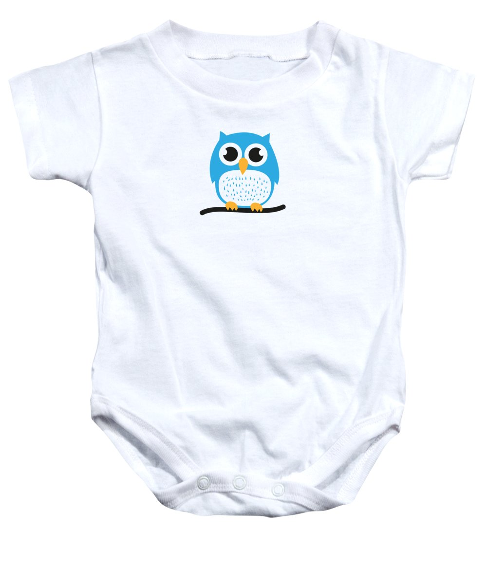 Sweet Baby Onesie featuring the digital art Sweet And Cute Owl by Philipp Rietz