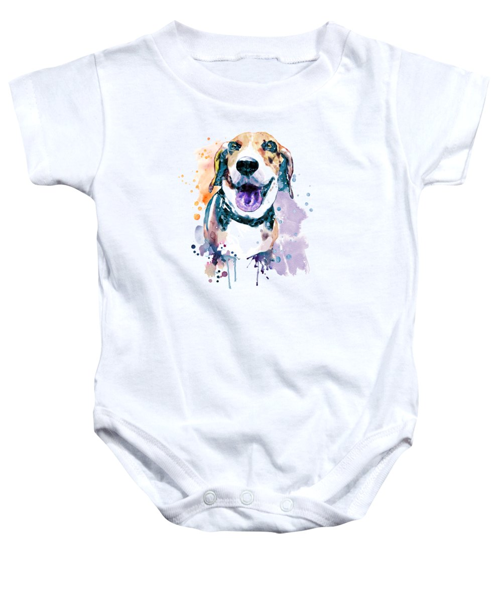 Beagle Baby Onesie featuring the painting Sweet Beagle by Marian Voicu
