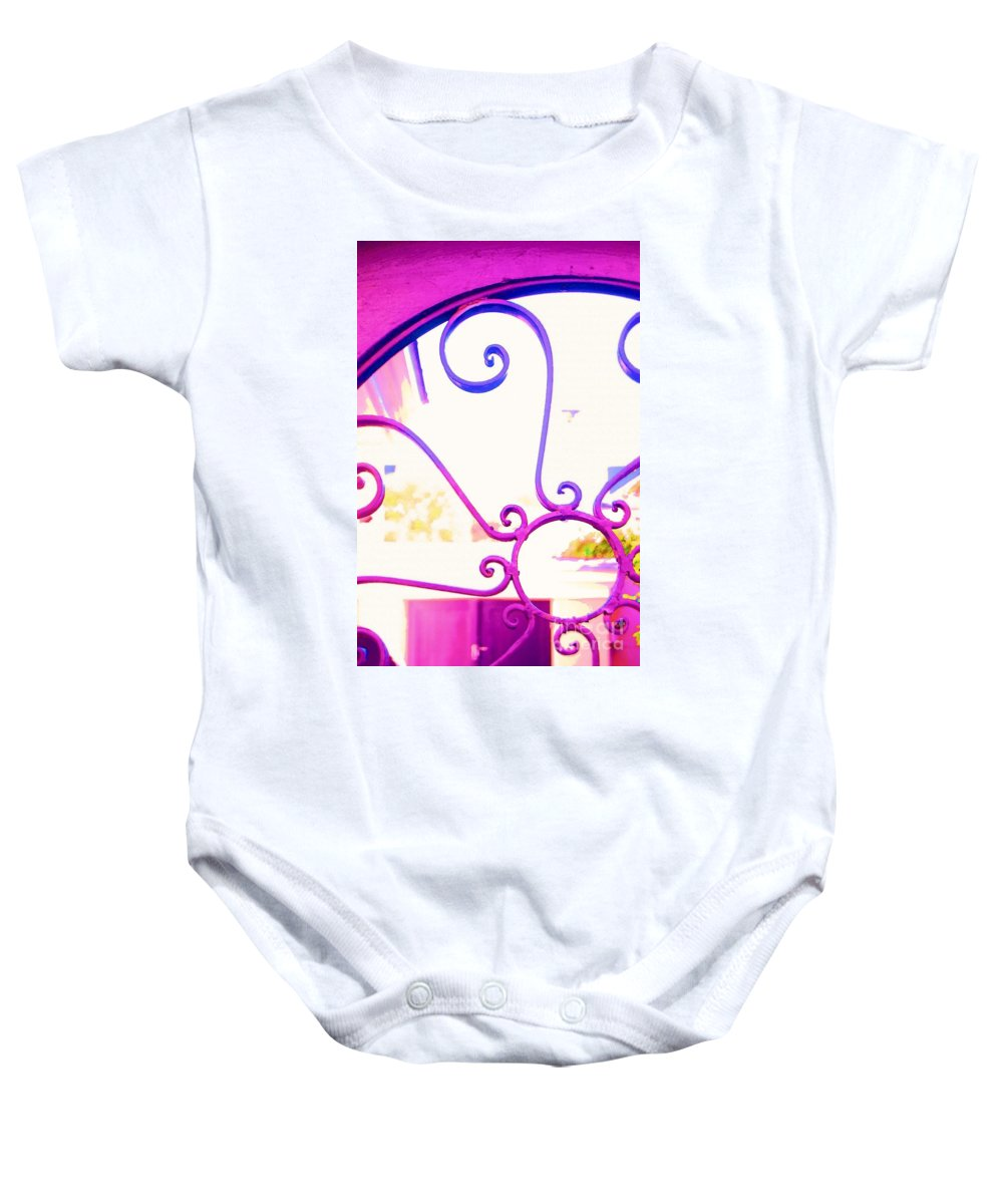 Gate Baby Onesie featuring the photograph Swirls On A Gate by Donna Bentley