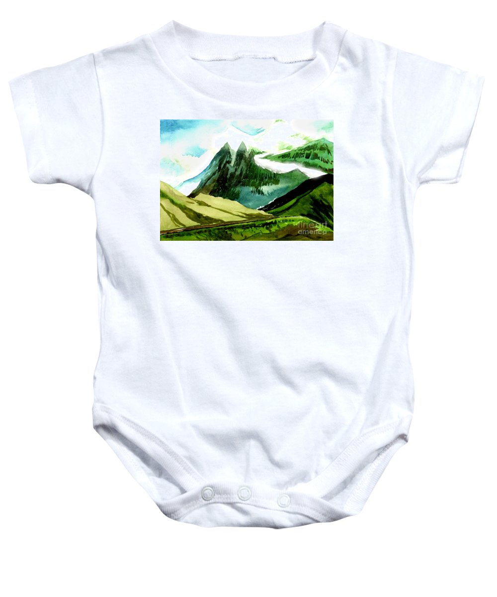 Landscape Baby Onesie featuring the painting Switzerland by Anil Nene