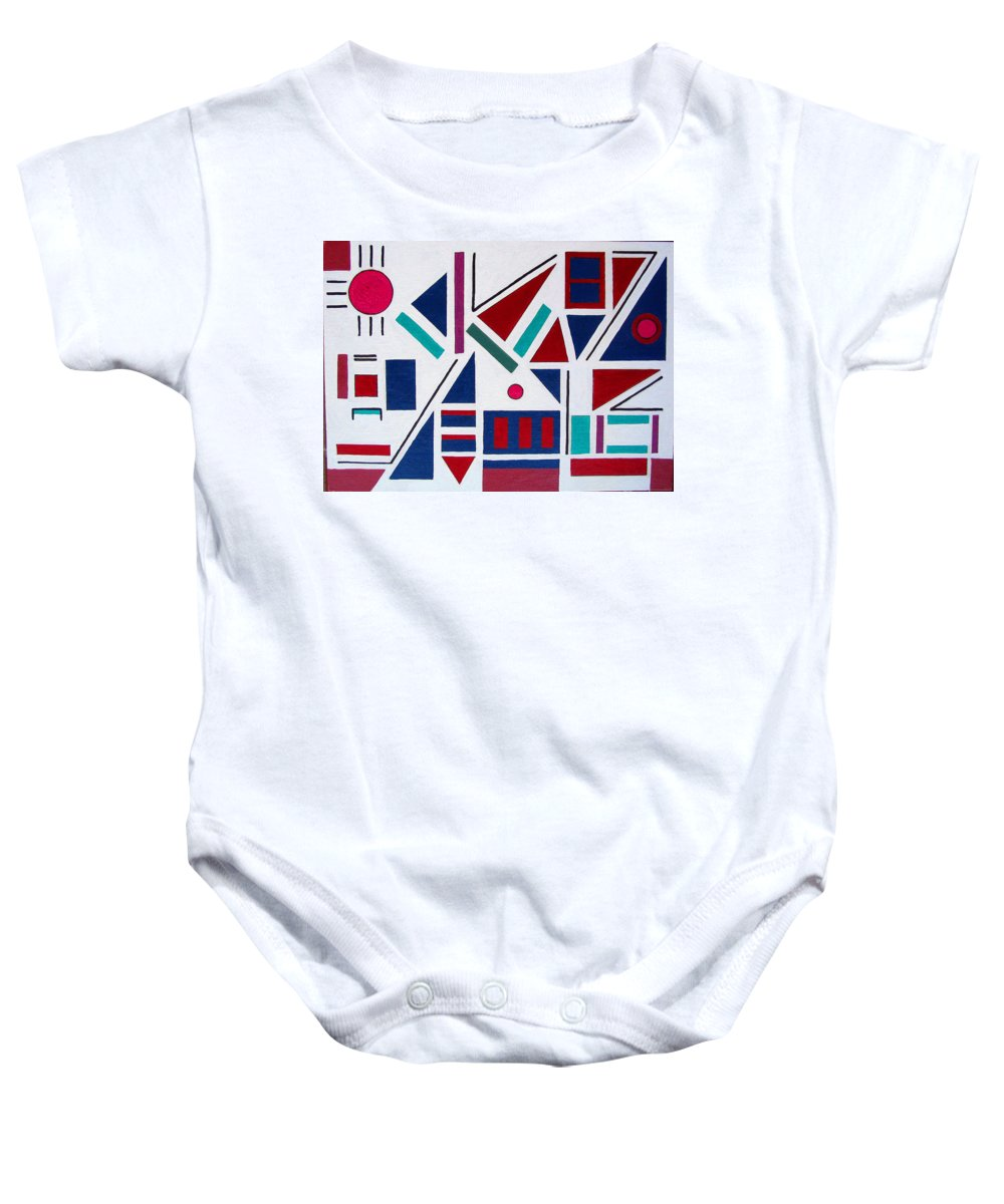 Abstract Baby Onesie featuring the painting Symmetry In Blue Or Red by Marco Morales