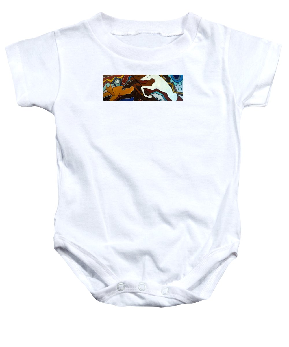 Horse Abstract Baby Onesie featuring the painting Taffy Horses by Valerie Vescovi