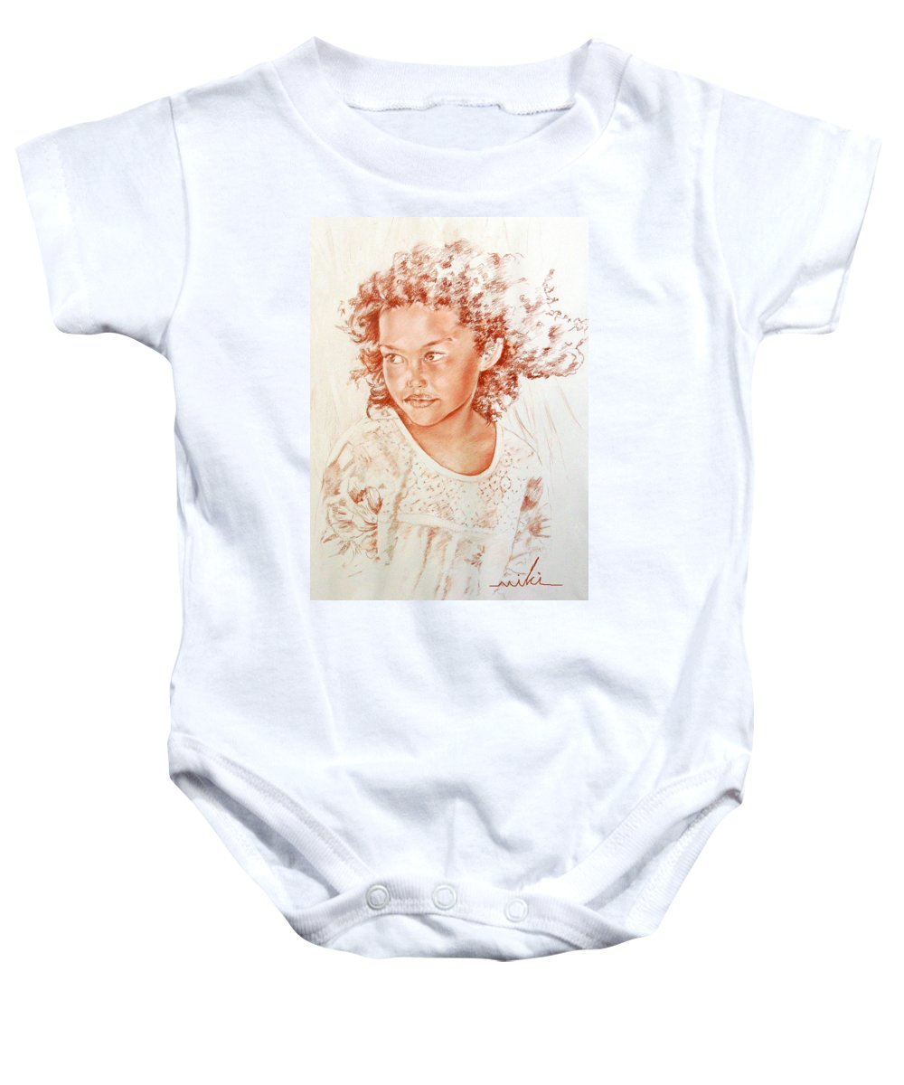 Drawing Persons Baby Onesie featuring the painting Tahitian Girl by Miki De Goodaboom