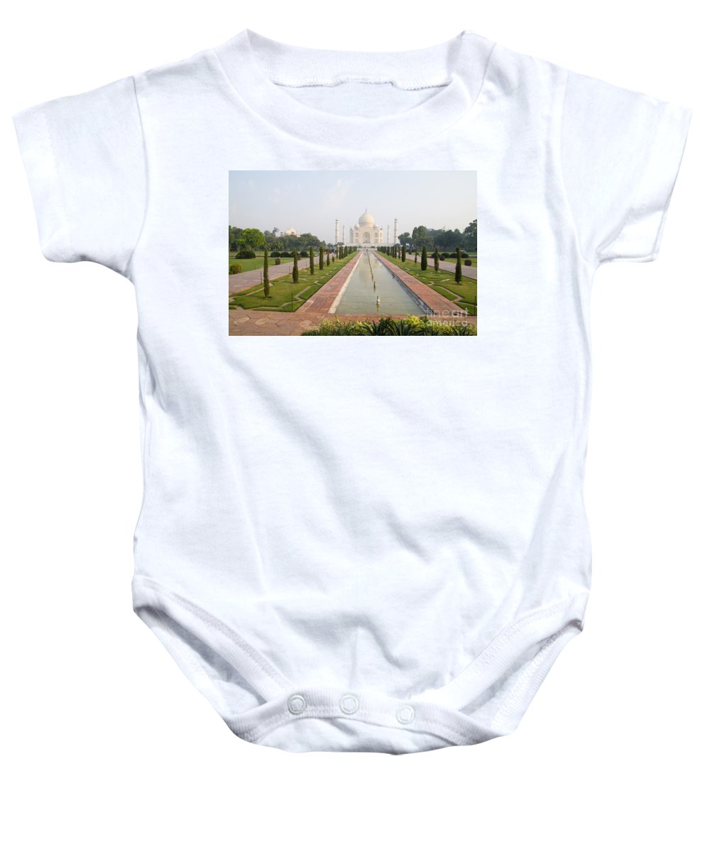 Agra Baby Onesie featuring the photograph Taj Mahal by Bill Bachmann - Printscapes