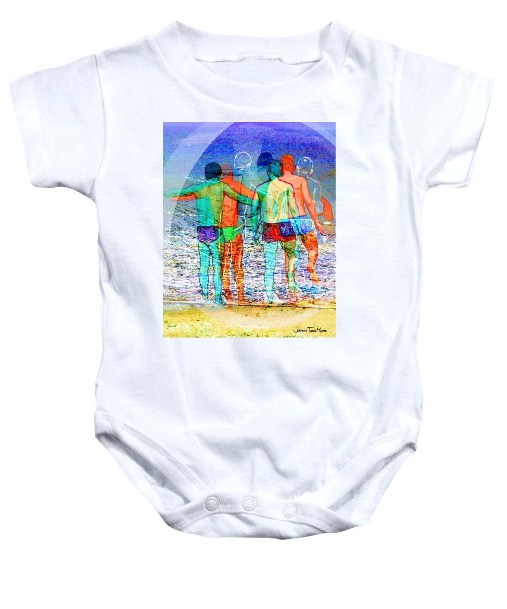 Male Baby Onesie featuring the photograph Taking The Plunge Together by Jeffrey Todd Moore