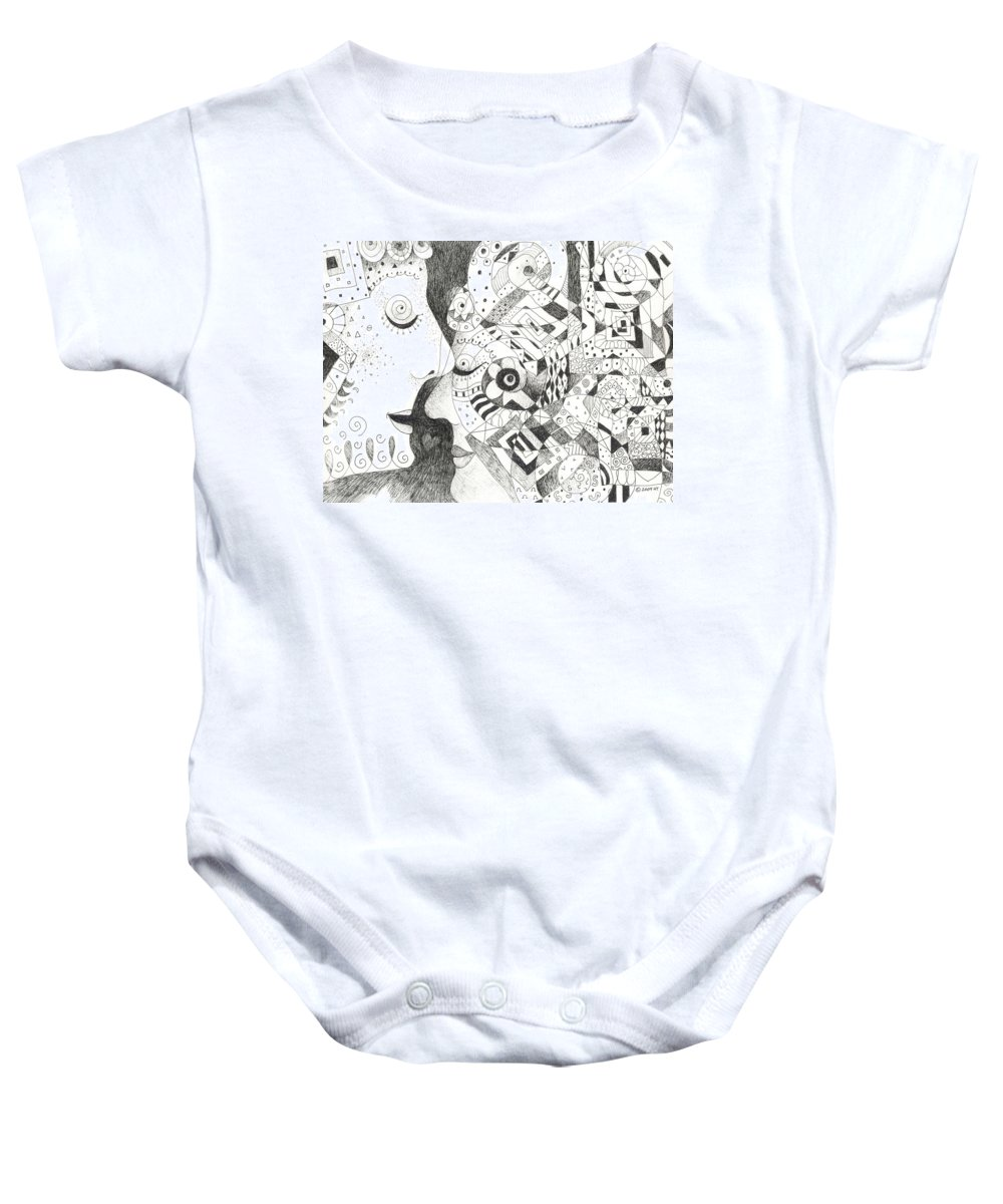 Relationship Baby Onesie featuring the drawing Tall Tales by Helena Tiainen