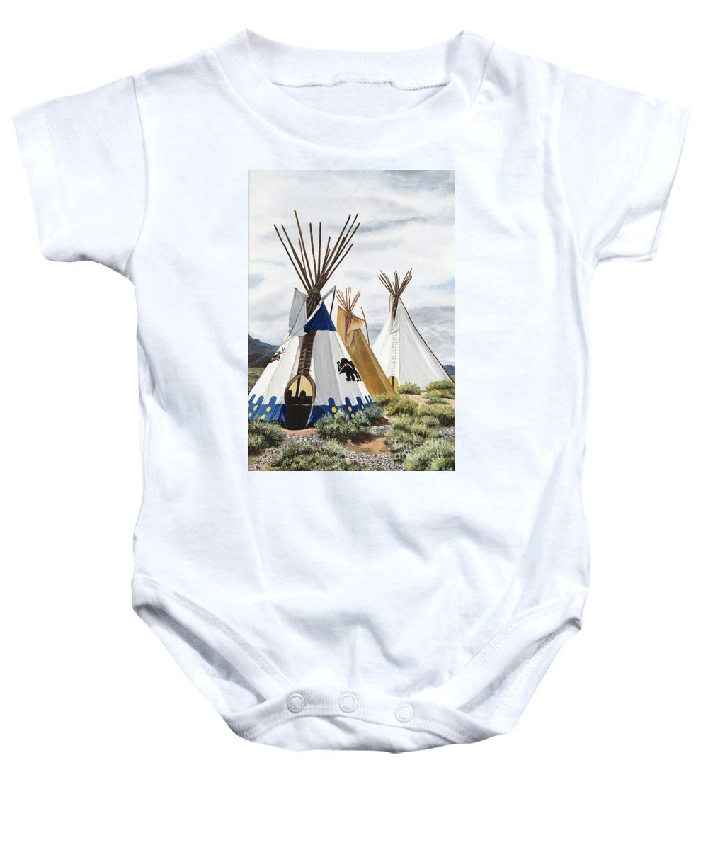 Art Baby Onesie featuring the painting Taos by Mary Rogers