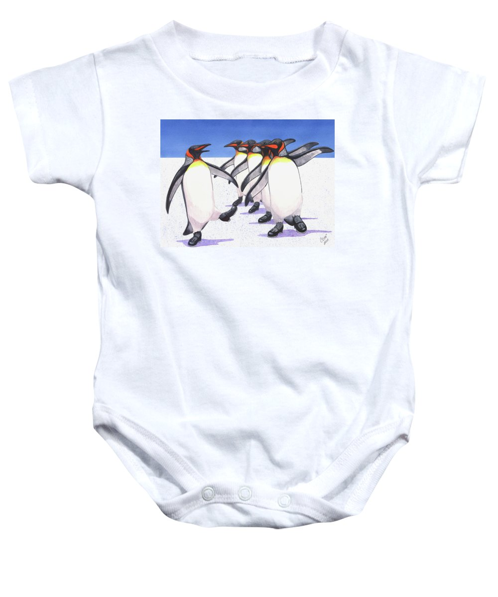 Penguin Baby Onesie featuring the painting Tappity Tap by Catherine G McElroy
