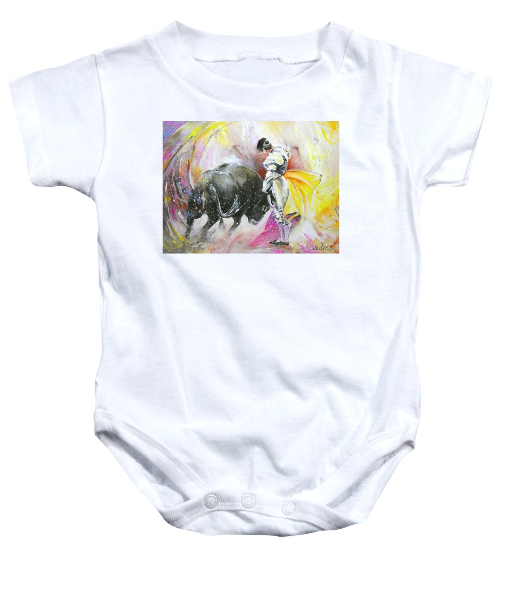 Animals Baby Onesie featuring the painting Taurean Power by Miki De Goodaboom