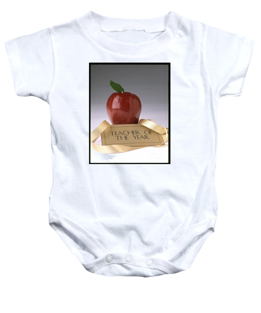 Teacher Of The Year Baby Onesie featuring the photograph Teacher Of The Year Award Poster by Greg Kopriva