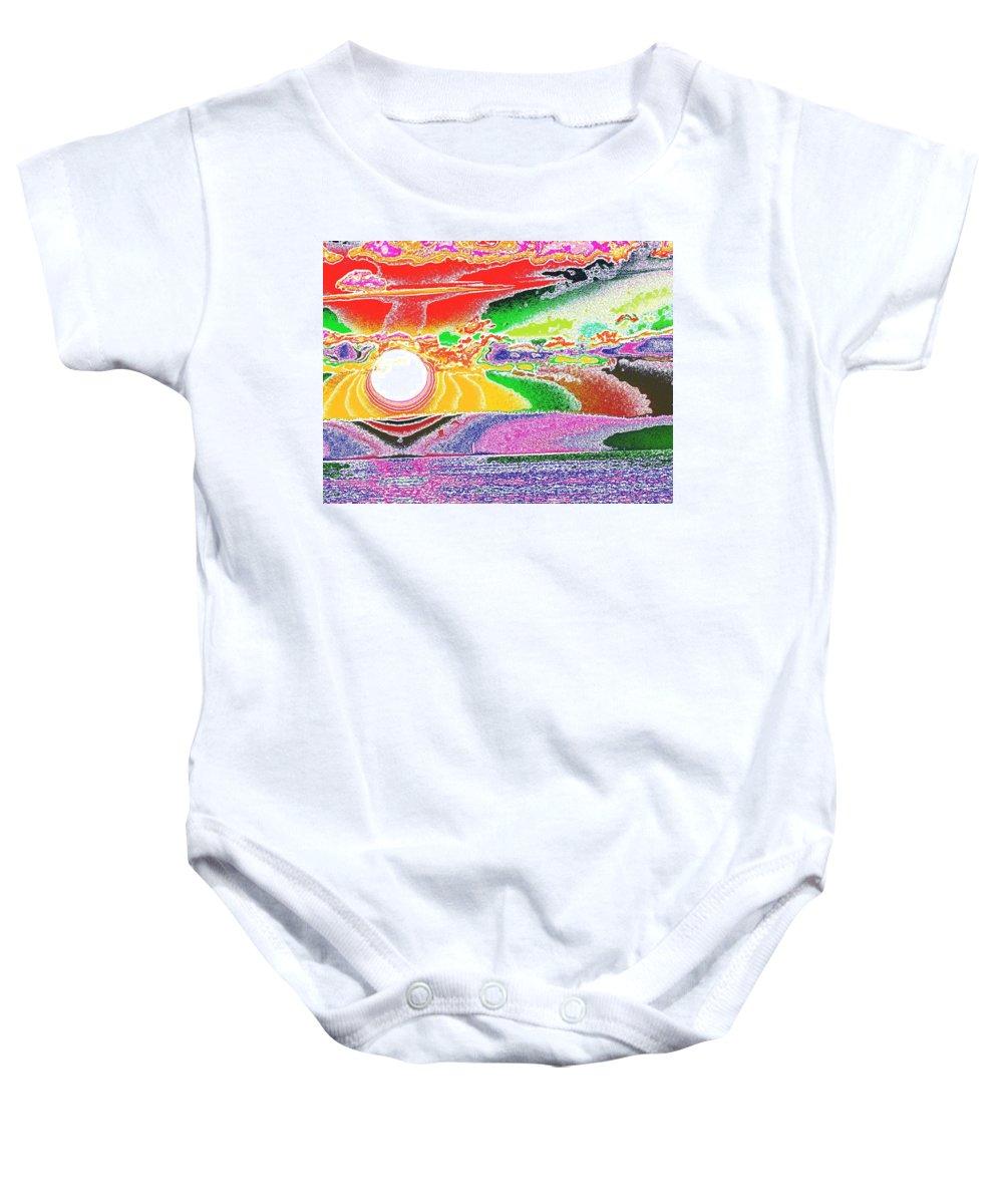 Sunset Baby Onesie featuring the digital art Technicolor Sunset by Tim Allen