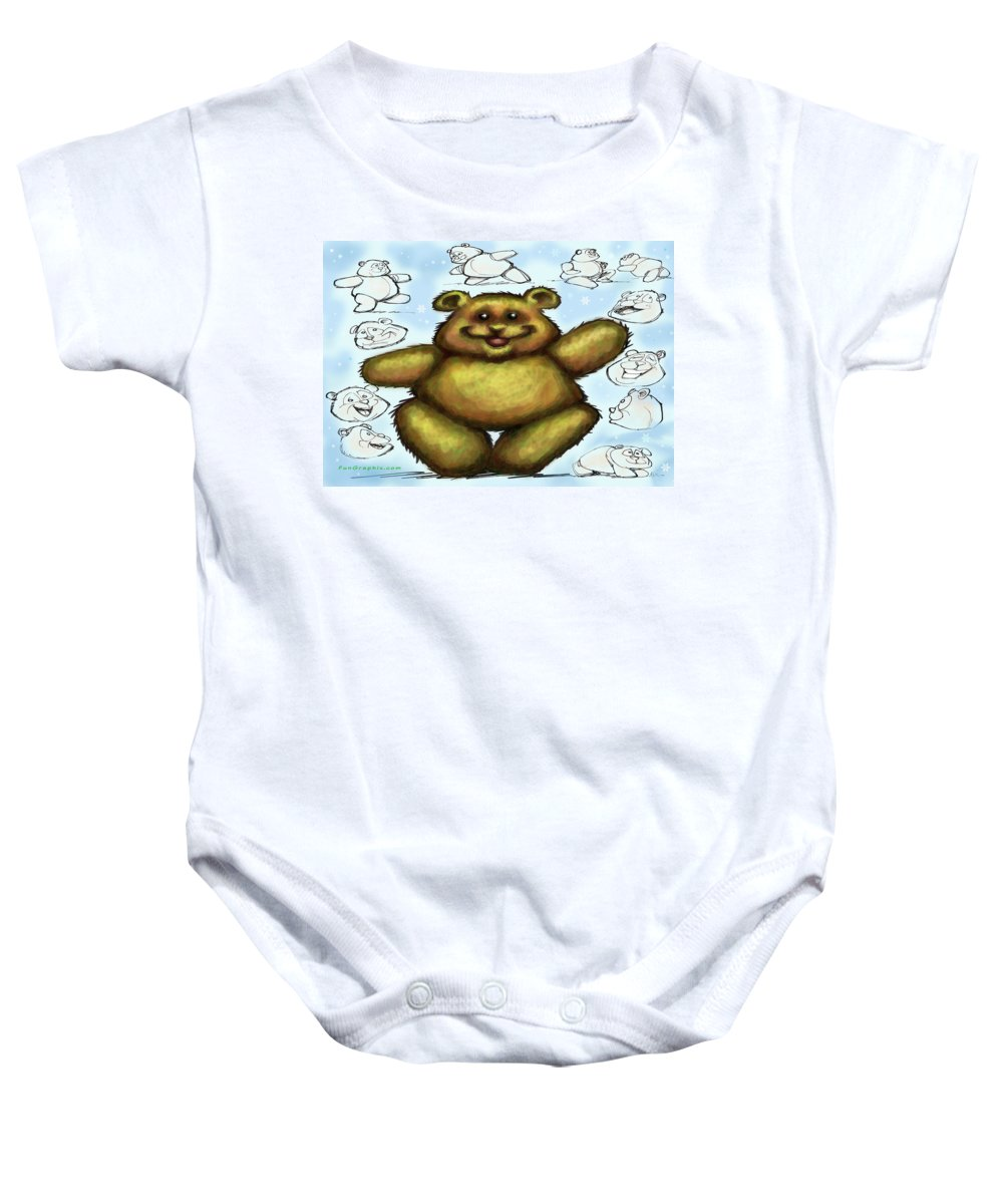 Bear Baby Onesie featuring the painting Teddy Bear by Kevin Middleton