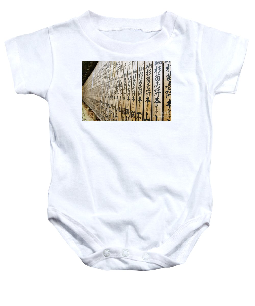 Artistic Baby Onesie featuring the photograph Temple Contributer Plaques by Bill Brennan - Printscapes