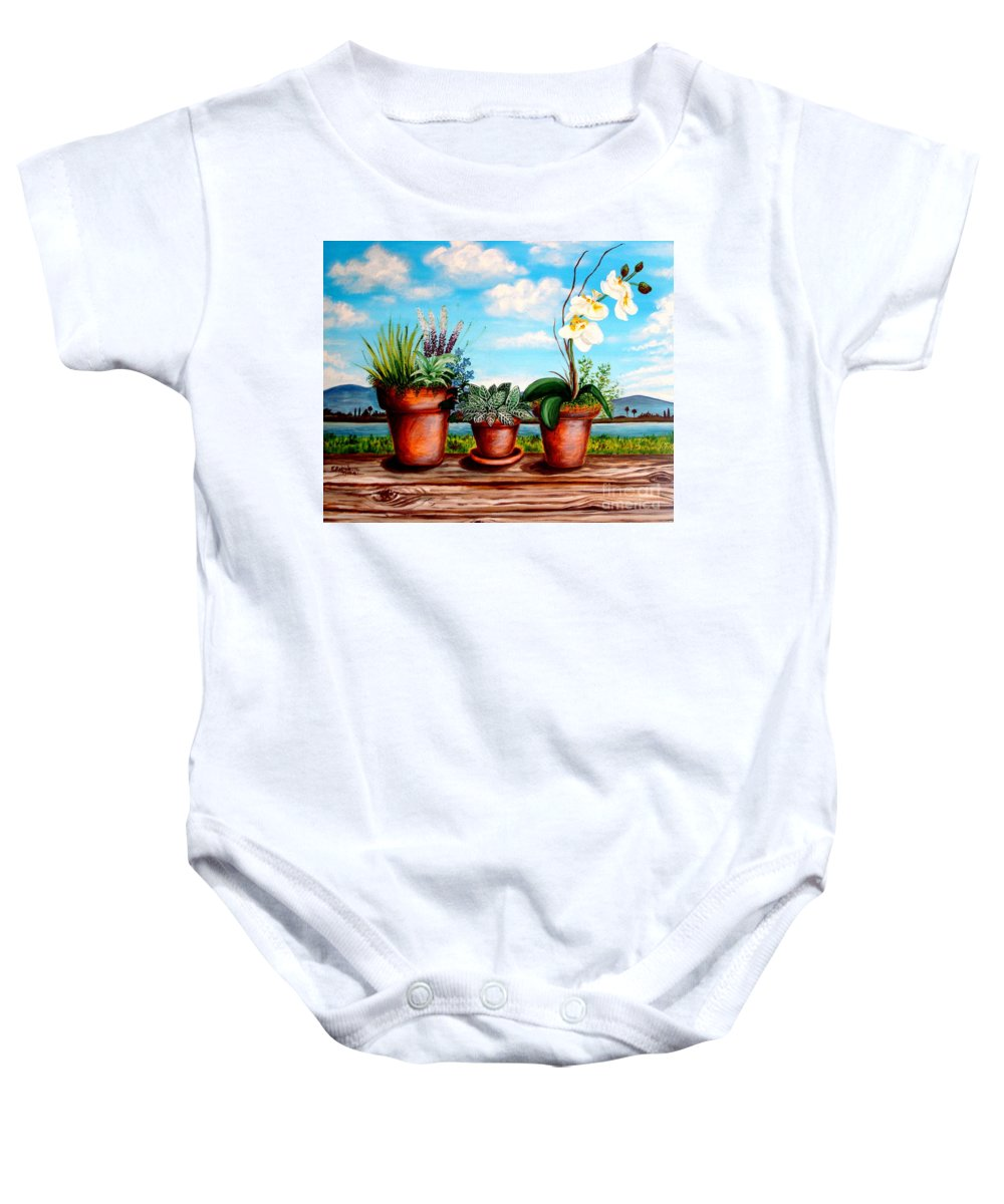 Landscape Baby Onesie featuring the painting Terra Cotta Blues by Elizabeth Robinette Tyndall