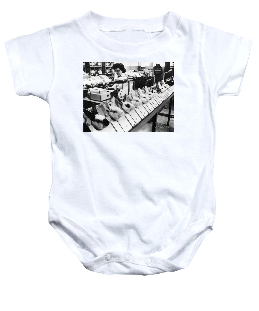 1957 Baby Onesie featuring the photograph Tests On Animals, 1957 by Granger