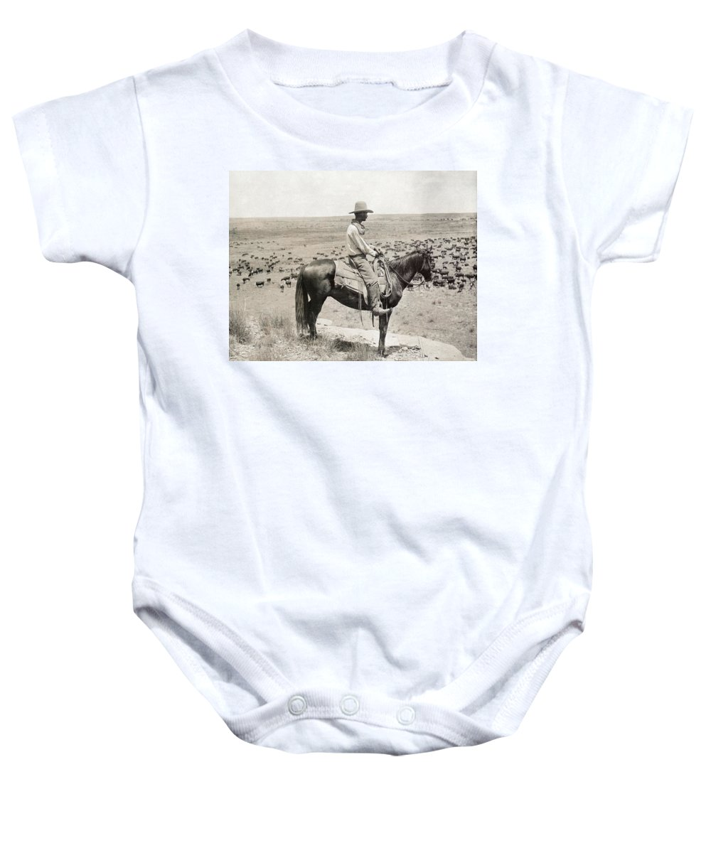 1908 Baby Onesie featuring the photograph Texas: Cowboy, C1908 by Granger