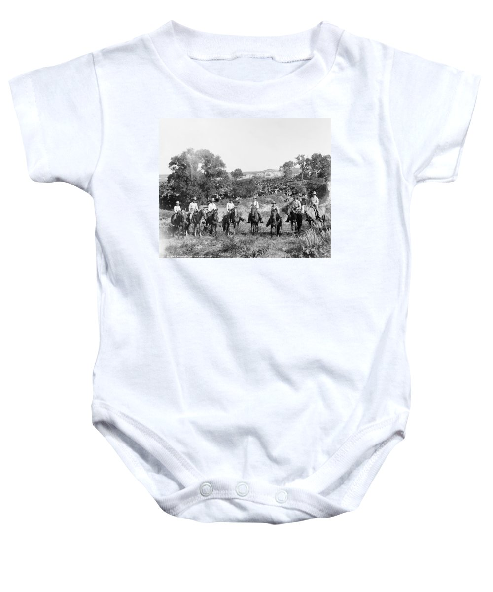 1901 Baby Onesie featuring the photograph Texas: Cowboys, C1901 by Granger
