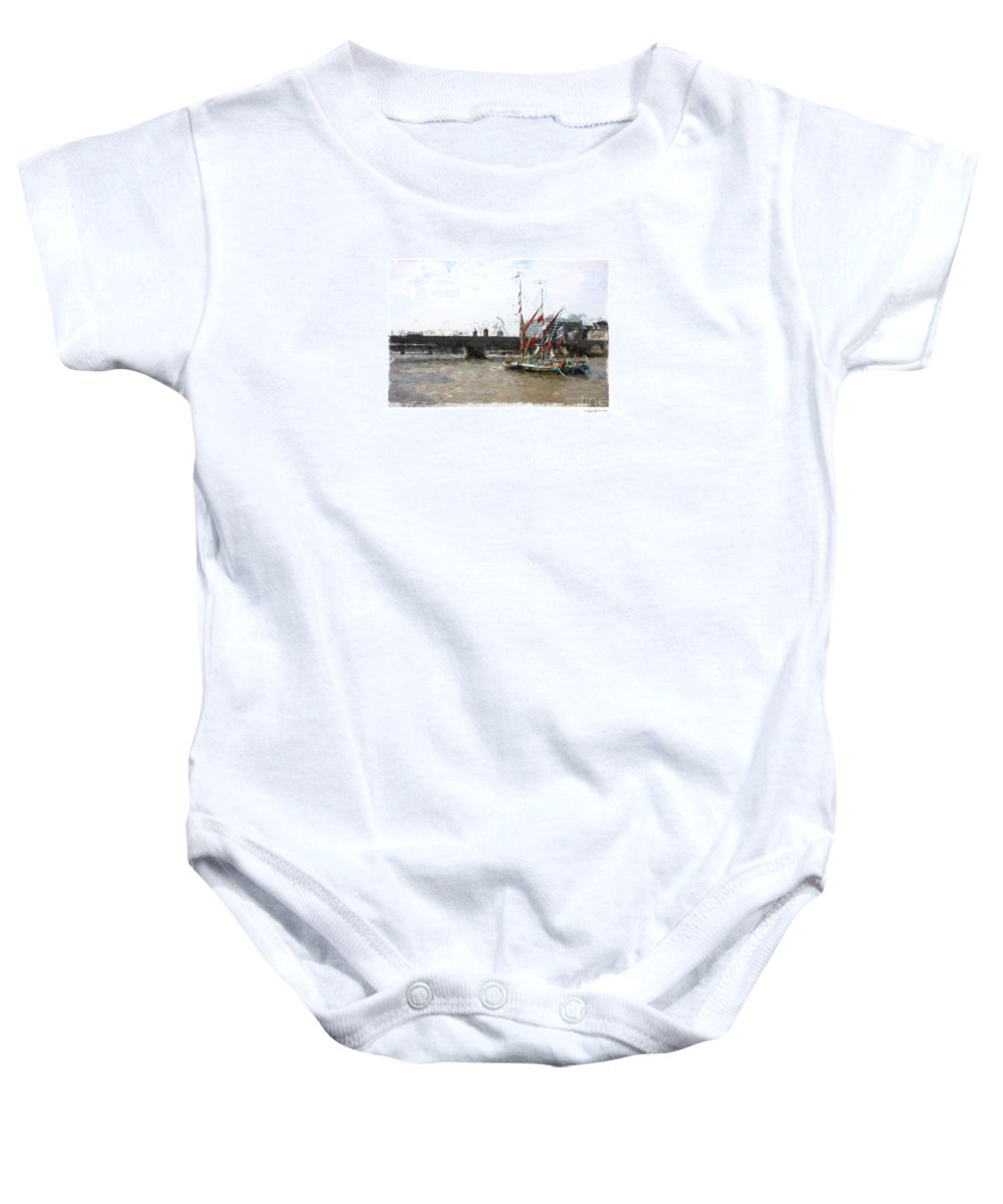 London Baby Onesie featuring the digital art Thames Barges by Roger Lighterness