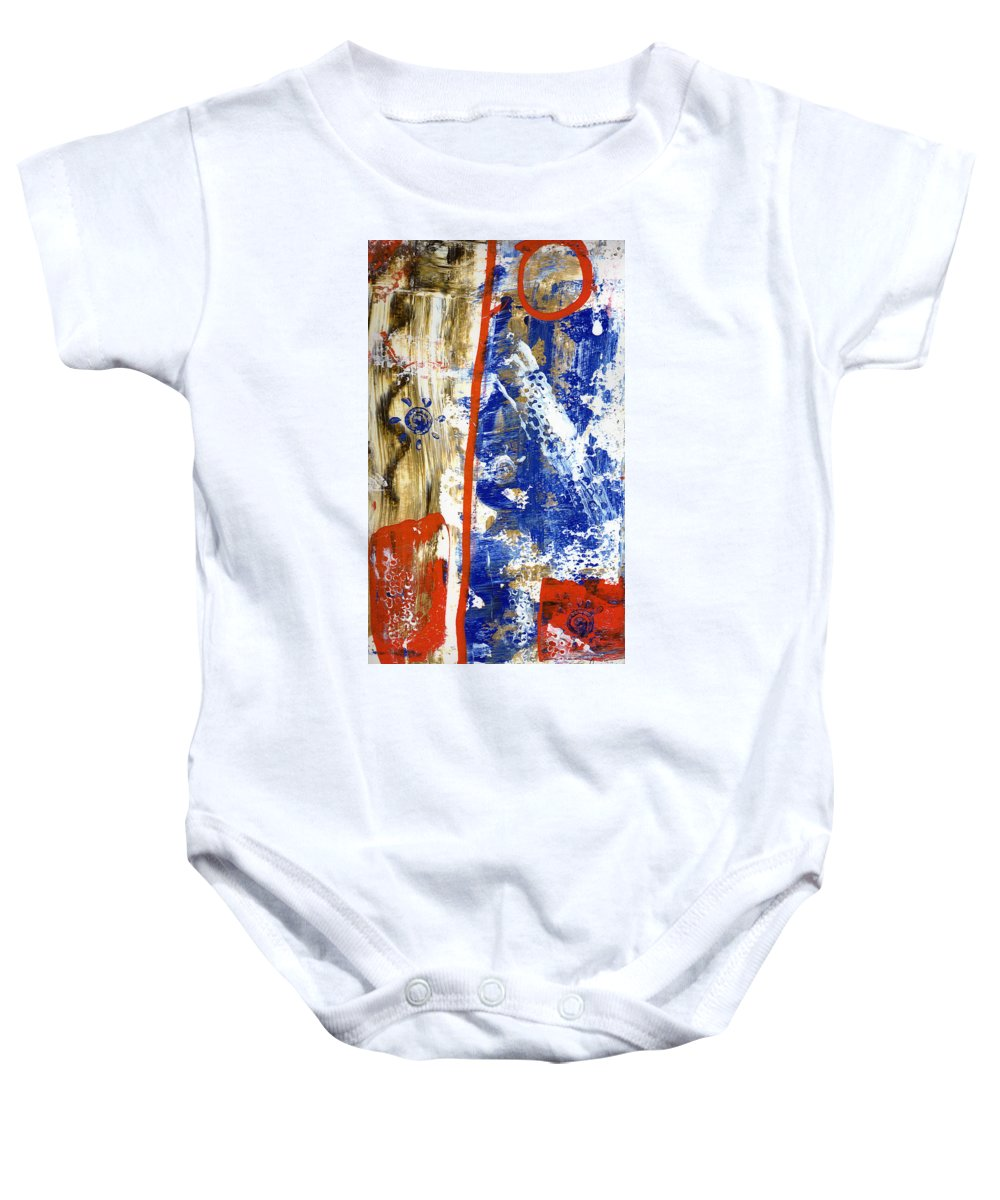 Abstract Baby Onesie featuring the painting The 4th by Wayne Potrafka