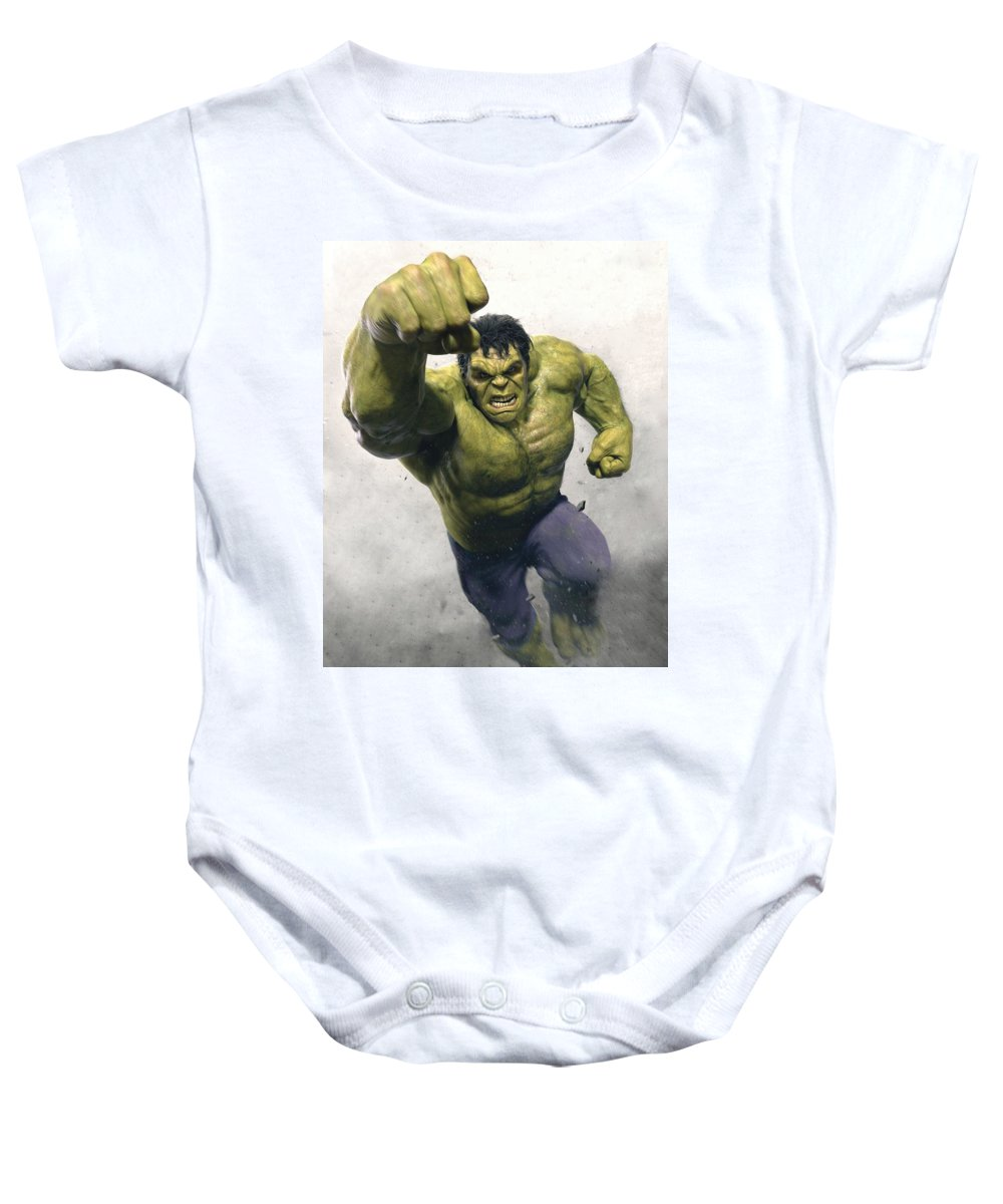 Hulk Baby Onesie featuring the digital art The Avengers Age Of Ultron 2015 21 by Geek N Rock