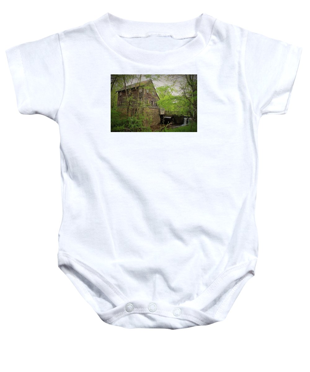 Grist Mill Baby Onesie featuring the photograph The Beauty Of The West Point On The Eno Grist Mill - Durham, N.c. by Sandra Bennett