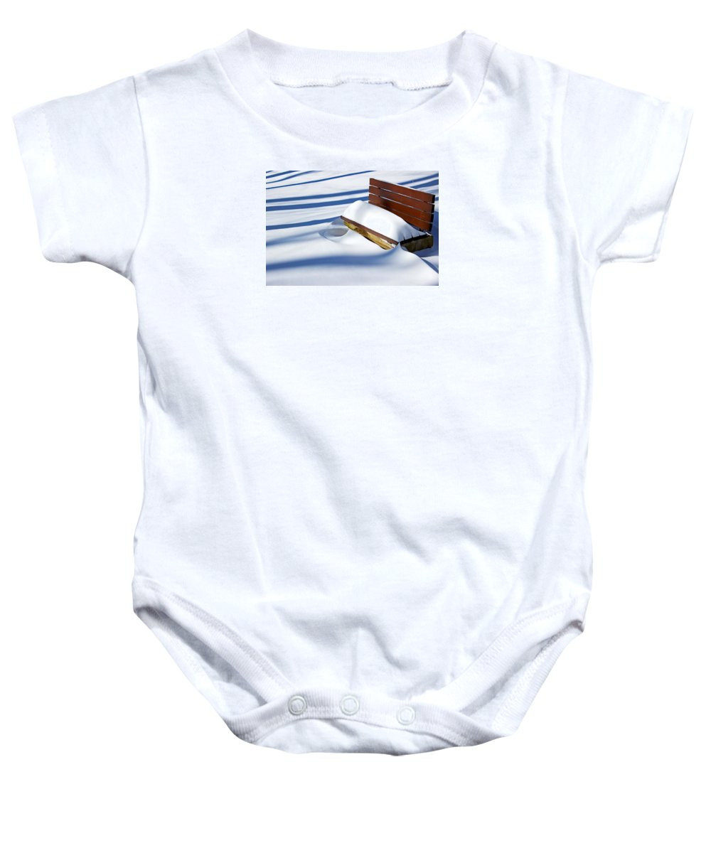 Winter Baby Onesie featuring the photograph The Bench - The Guild Inn by Spencer Bush