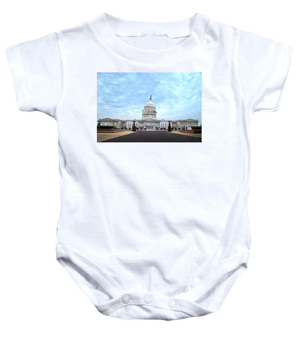 Democracy Baby Onesie featuring the digital art The Best Congress Money Can Buy by Barry Blackman