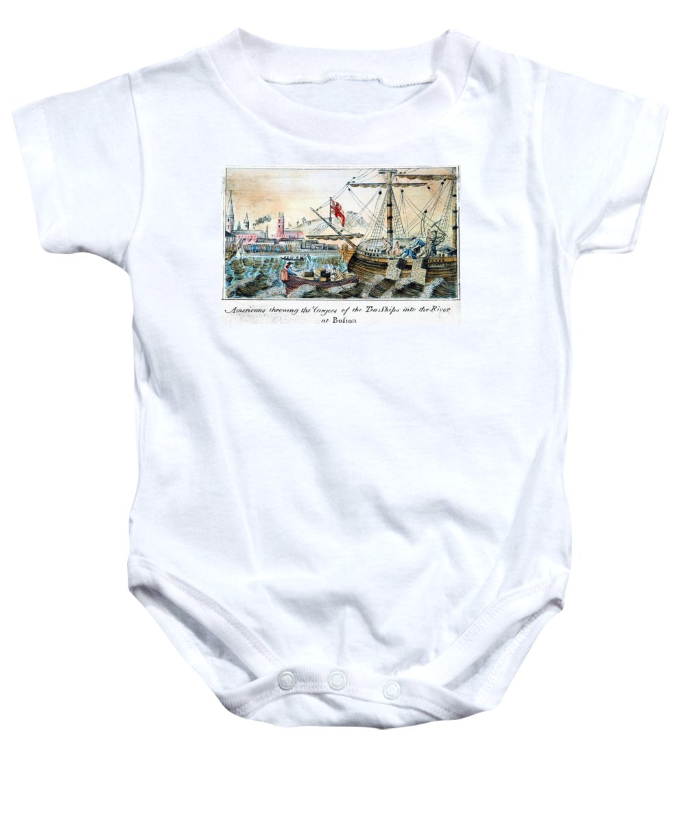 1773 Baby Onesie featuring the photograph The Boston Tea Party, 1773 by Granger