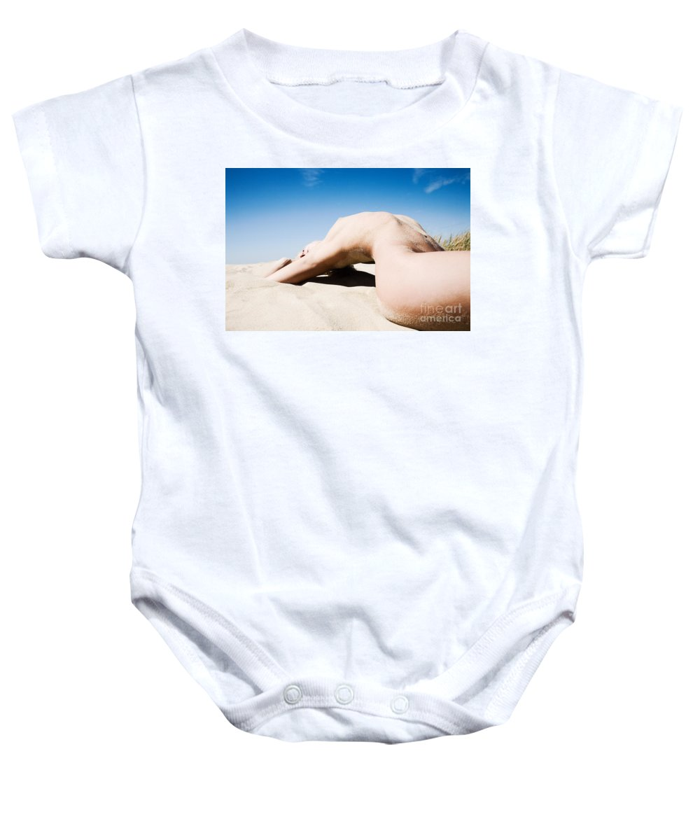 Sensual Baby Onesie featuring the photograph The Bridge by Olivier De Rycke