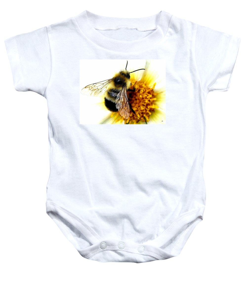 Honeybee Baby Onesie featuring the photograph The Buzz by Will Borden