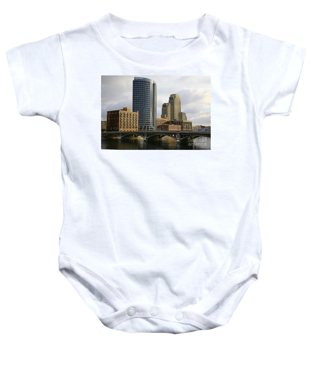 City Baby Onesie featuring the photograph The City Grand Rapids Mi-2 by Robert Pearson