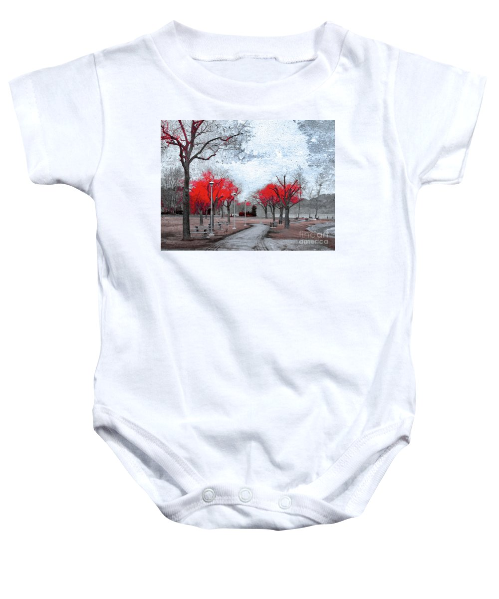 Trees Baby Onesie featuring the photograph The Crimson Trees by Tara Turner