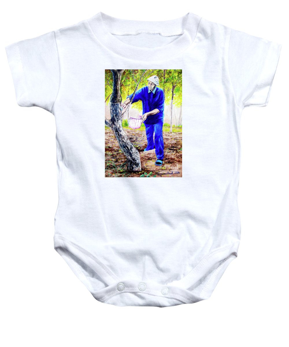 Daddy Baby Onesie featuring the painting The Cure - La Cura by Rezzan Erguvan-Onal