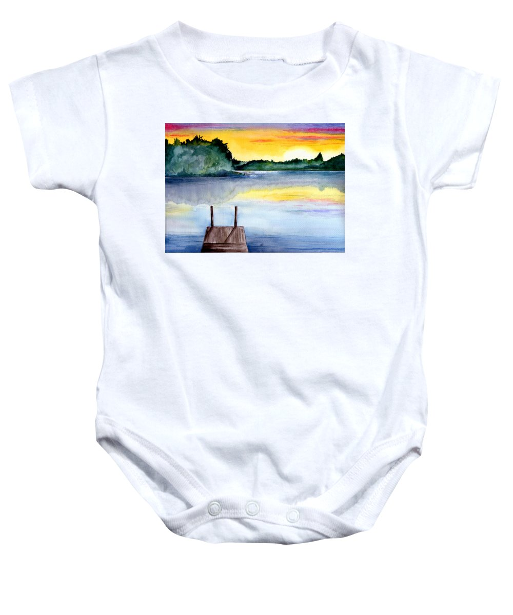 Watercolor Baby Onesie featuring the painting The Dock by Brenda Owen