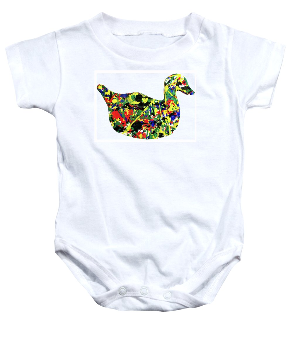 Abstract Baby Onesie featuring the painting The Duck by Ducksy