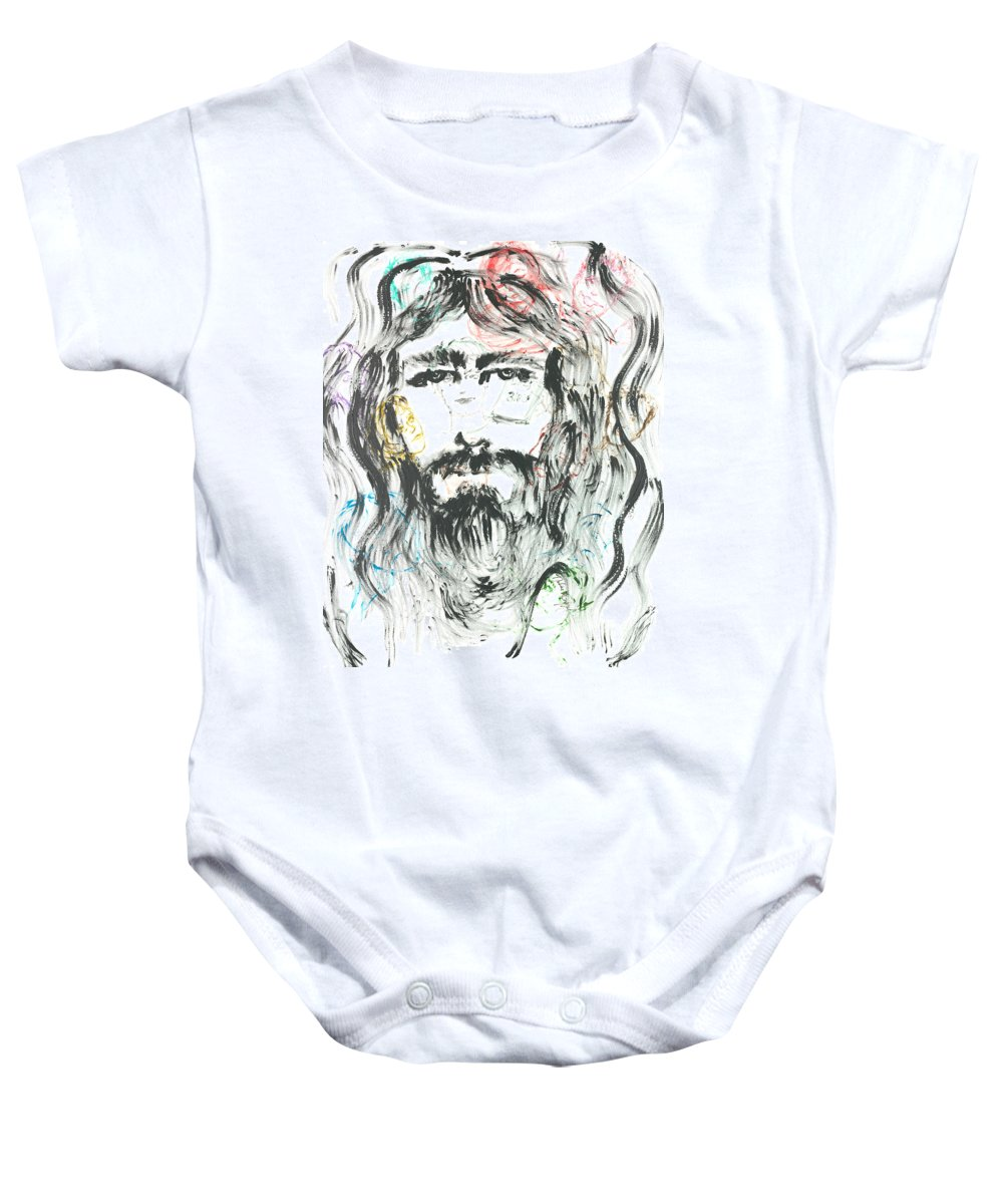 Jesus Baby Onesie featuring the painting The Emotions of Jesus by Nadine Rippelmeyer