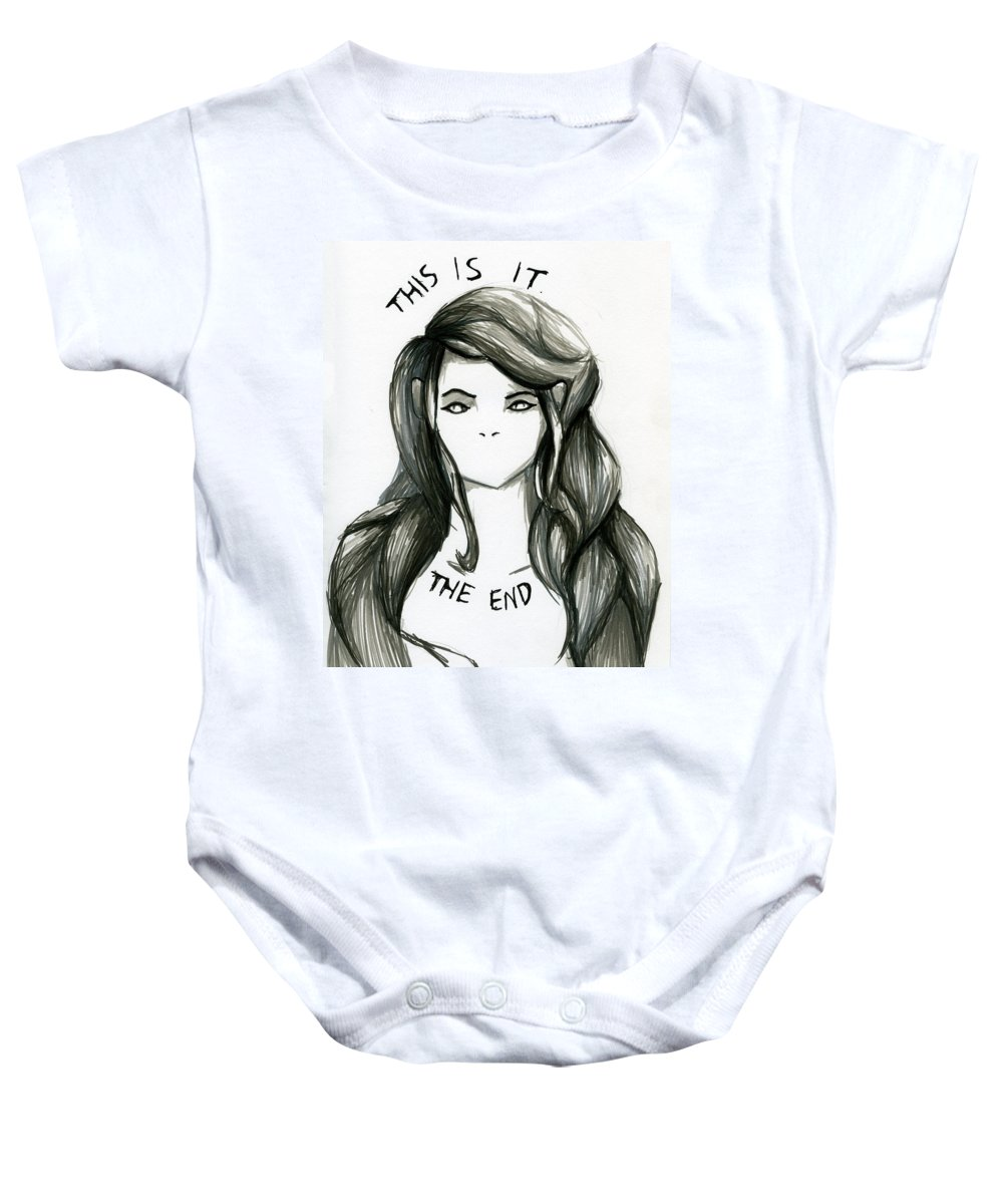 This Is It Baby Onesie featuring the drawing The End by Kita Liosatos