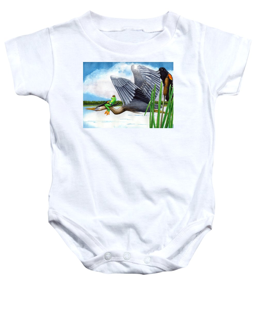 Birds Baby Onesie featuring the painting The Fly By by Catherine G McElroy