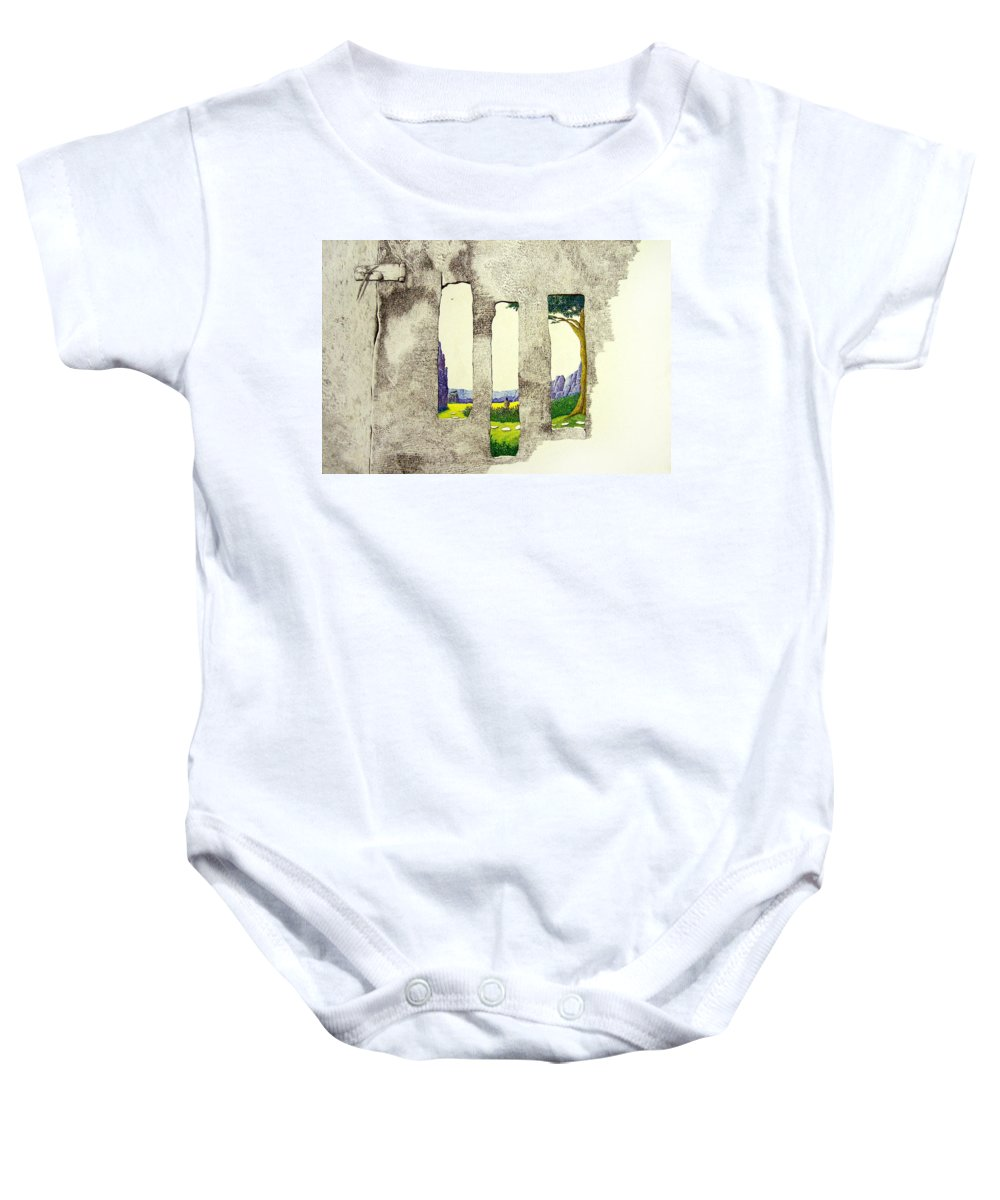 Imaginary Landscape. Baby Onesie featuring the painting The Garden by A Robert Malcom