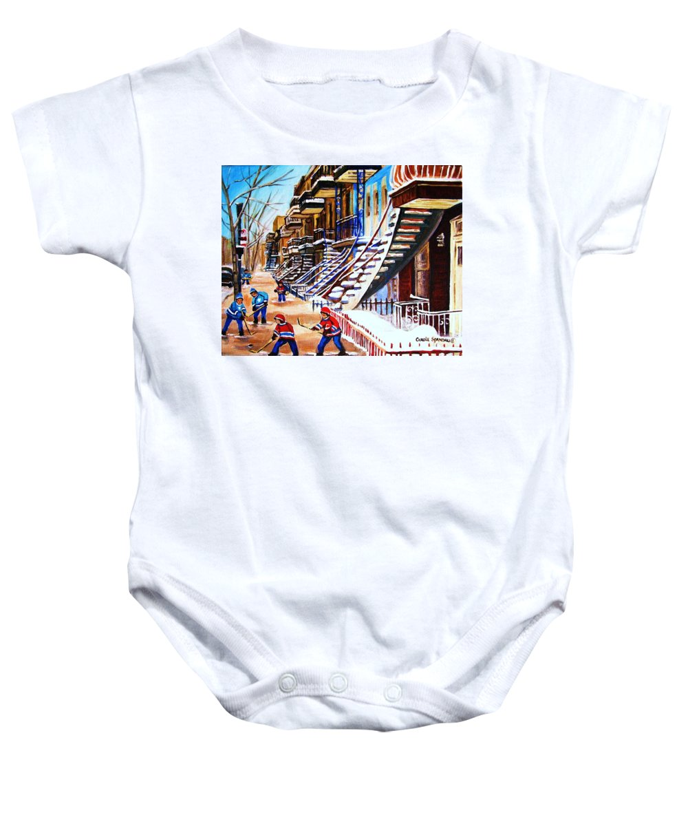 Hockey Baby Onesie featuring the painting The Gray Staircase by Carole Spandau