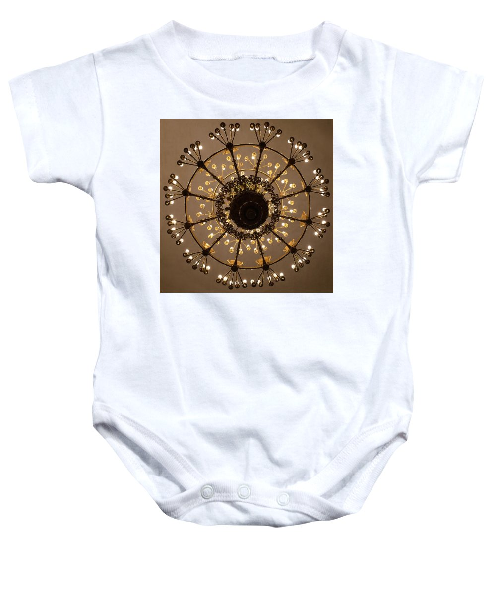 Chandelier Baby Onesie featuring the photograph The Hermitage 2 by Annette Hadley