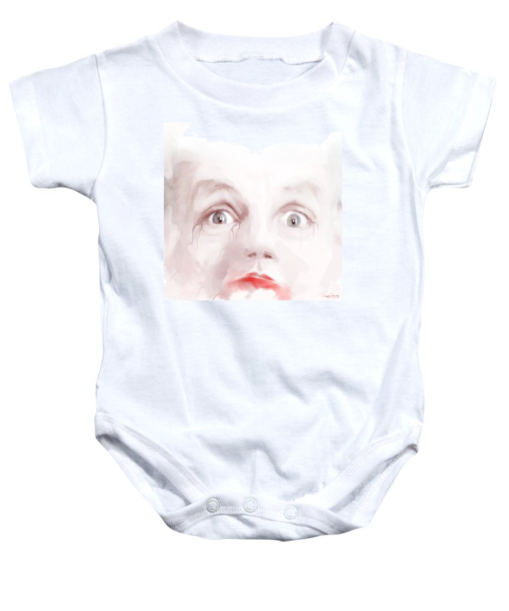 White Baby Onesie featuring the digital art The King Is Dead. by Veronica Jackson