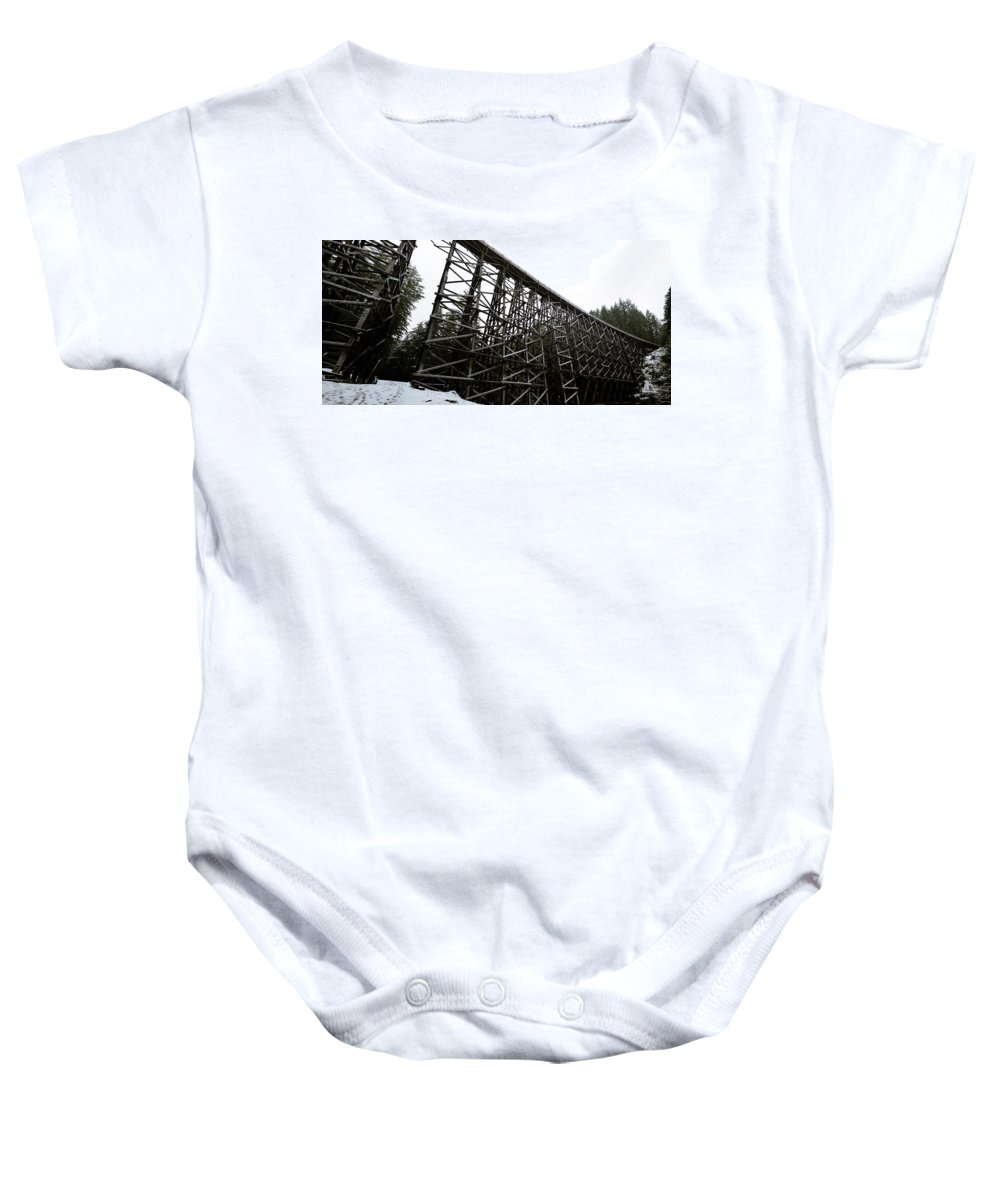 Island Baby Onesie featuring the photograph The Kinsol Trestle Panorama View On Snowy Day 1. by Andrew Kim